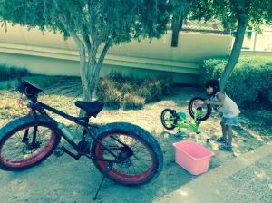 Katja Busy Cleaning Her Bike